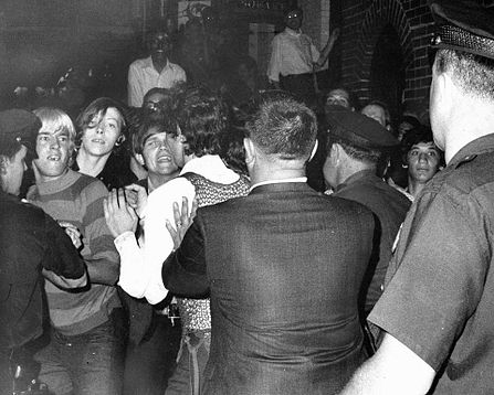 This photo appeared on the front page of The New York Daily News on Sunday, June 29, 1969. It's apparently the only photo taken during the first night of the Stonewall Riots. In it, street kids, including homeless youth who made the park across the street from Stonewall home, are shown getting into a fight with police.