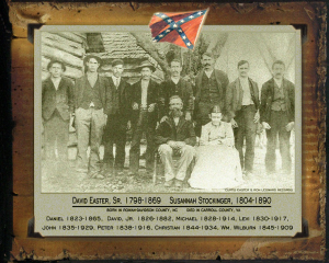 A graphic created by distant relatives, depicting my fifth-great-grandfather David Easter with all eight of his sons, among which two, Levi and Michael, are also my third- and fourth-great-grandfathers. Each of the brothers served in the Confederate Army.